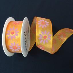 Celine pink Blumenmotiv mit Drahtkante 40 mm 25 m