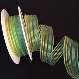Andressa grün gelb Streifenmotiv mit Drahtkante 25 mm 20 m