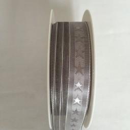 Supreme silbergrau mit Silberstreifen mit Drahtkante 25 mm 20 m