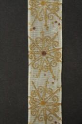 Meridian creme gold mit Drahtkante 25 mm 20 m