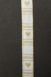 Goldherz Leinen natur gold 15 mm 20 mtr