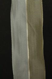 Pirol creme mit Goldstreifen Drahtkante 40 mm 20 m