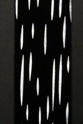 Nil Velourband schwarz Tropfen silber 40 mm 20 m