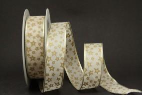 Kitzbühel Sterne creme gold 25 mm 20 m
