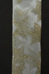 Sigrid creme Sterne gold mit Drahtkante 40 mm 20 m