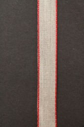 Chrissy Leinenband natur mit rotem Rand 15 mm 20 m