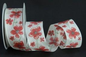 Marina creme Blumenmotiv rot mit Drahtkante 40 mm 20 m