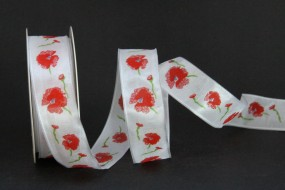 Kari weiss rot Blumenmotiv mit Drahtkante 25 mm 15 m