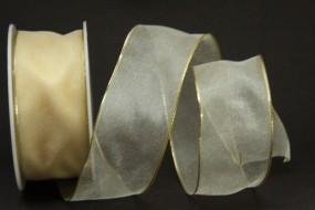 Finnland Goldrand creme gold mit Drahtkante 40 mm 25 m