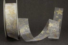 Singapur Organza weiss Sterne gold 25 mm 20 m