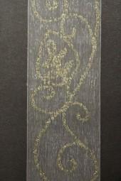 Bellevue Organza weiss gold Motiv Girlande 35 mm 15 m