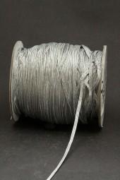 Bindekordel flach silber elastisch 3 mm 100 m