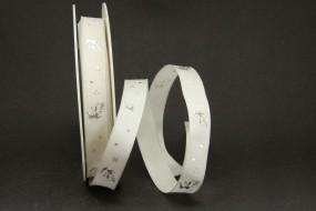 Frosty Hirschmotiv creme silber 15 mm 25m