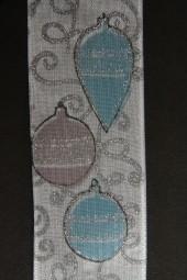 Weihnachtskugel weiss rose mit Silberrand Drahtkante 40 mm 20 m