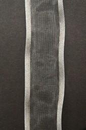 Lugano grau mit Silberrand 25 mm 15 m