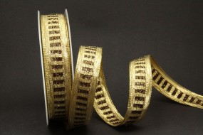 Diamonds gold dunkelbraun metallic 25 mm 25 m