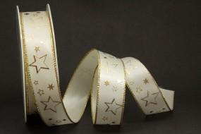 Galaxy creme Sterne gold 25 mm 25 m