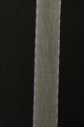 Enrica Leinenband natur Seitenstreifen rosa 15 mm 20 m