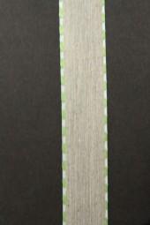 Enrica Leinenband natur Seitenstreifen hellgrün 15 mm 20 m