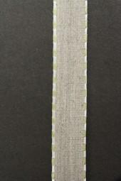 Enrica Leinenband natur Seitenrand hellgrün 15 mm 20 m