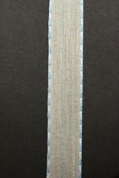 Enrica Leinenband natur Seitenstreifen hellblau 15 mm 20 m