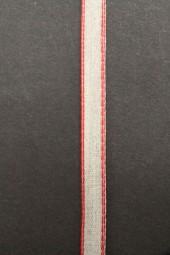 Chrissy Leinenband natur roter Rand 10 mm 20 m