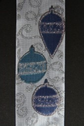 Weihnachtskugel weiss blau mit Silberrand Drahtkante 40 mm 20 m