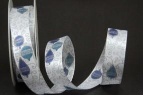 Weihnachtskugel weiss blau mit Silberrand Drahtkante 25 mm 20 m