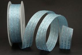 Spirit hellblau silber mit Drahtkante 25 mm 20 m