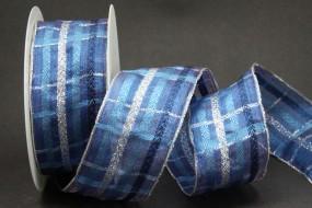 Montreux blau silber mit Drahtkante 40 mm 20 m