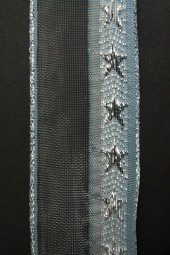 Monsun eisblau silber Motiv Sterne mit Drahtkante 40 mm 20 m