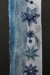 Plauen hellblau silber Motiv Sterne mit Drahtkante 40 mm 20 m