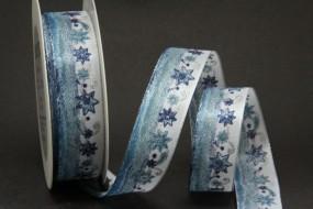 Plauen hellblau silber Motiv Sterne mit Drahtkante 25 mm 20 m