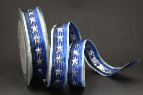Monsun blau silber Motiv Sterne mit Drahtkante 25 mm 20 m