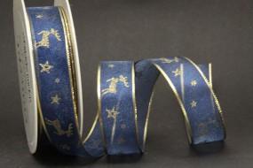 Lillebror blau gold Hirschmotiv 25 mm 25 m