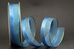 Mailand blau mit Goldrand Drahtkante 25 mm 20 m