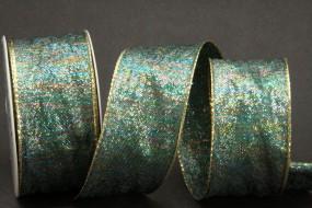 Weihnacht 26 blau gold mit Drahtkante 40 mm 10 m