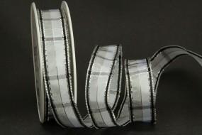 Steel grey grau silber mit Drahtkante 25 mm 20 m