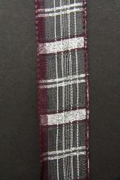Quast burgundy silber mit Drahtkante 25 mm 15 m