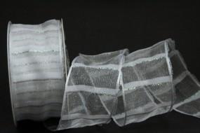 Gauß weiss silber mit Drahtband 40 mm 15 m