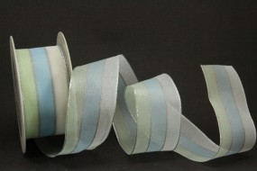Lisanne weiss hellblau mit Drahtkante 40 mm 20 m