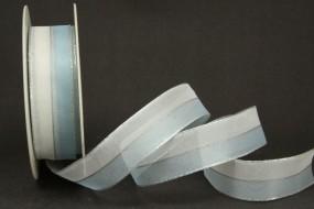 Lisanne hellblau weiss mit Drahtkante 25 mm 20 m