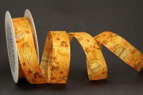Weihnachtskugel orange gold mit Drahtkante 25 mm 20 m