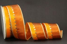 Calypso braun orange mit Goldrand 40 mm 25 m