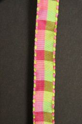 Pinie pink hellgrün kariert 13 mm 25 m