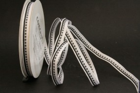 Woven Stripes weiss schwarz 10 mm 25 m