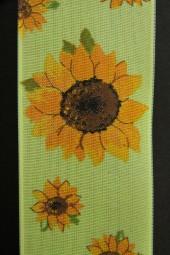 Sonnenblumen grün gelb mit Drahtkante 40 mm 20 m