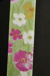 Lovely Blumenmotiv grün pink 25 mm 25 m
