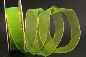 Organza grün Rand gelb Drahtkante 25 mm 20 m