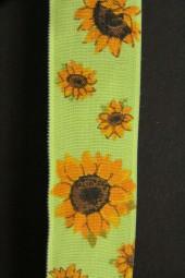 Sonnenblumen grün gelb 25 mm 20 m